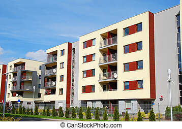 complexe, moderne, appartements