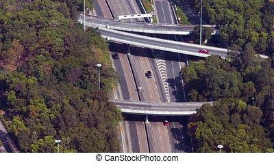 complexe, multilevel, autoroute