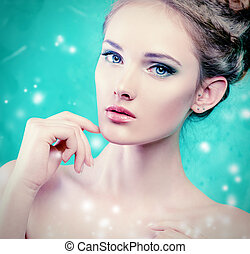 Beautiful young woman with fresh pure skin. Healthcare. Spring.