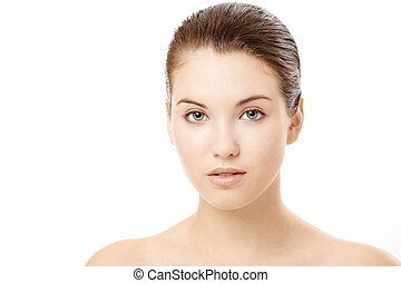 Complexion - Portrait of girl with the beautiful face, ...