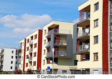complexo, de, modernos, apartamentos