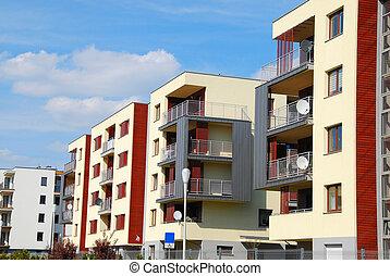 complexo, modernos, apartamentos
