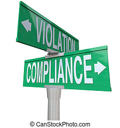 Compliance and Violation words on green road or street signs to illustrate the important choice between following or ignoring vital legal rules, guidelines, laws and regulations