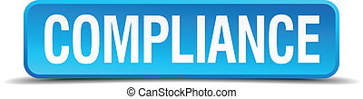 compliance blue 3d realistic square isolated button