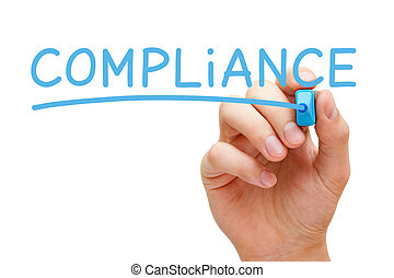 Compliance Blue Marker - Hand writing Compliance with blue...