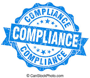 Compliance blue vintage seal isolated on white