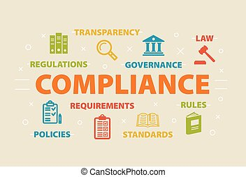 COMPLIANCE Concept with icons and signs