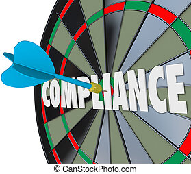 Compliance dart hits a board on the word to illustrate following and complying with laws, guidelines, ordinances, rules, policies and procedures to avoid legal trouble