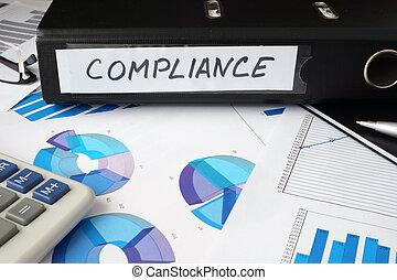 compliance., dossier, étiquette