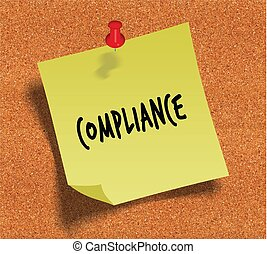 COMPLIANCE handwritten on yellow sticky paper note over cork noticeboard background.