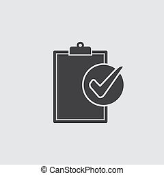 Compliance icon in black on a gray background. Vector...