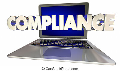 Compliance Laptop Computer Rules Online Laws Regulations 3d...