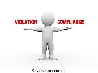 compliance., ouvert, 3d, homme, violation, mains