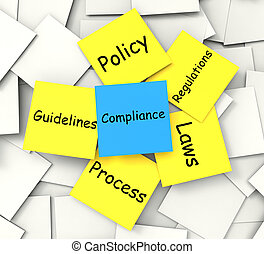 Compliance Post-It Note Showing Conforming To Regulations And Policy