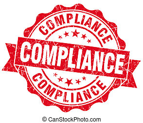 Compliance red vintage seal isolated on white