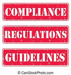 Set of red stamps gudelines, compliance, vector illustration