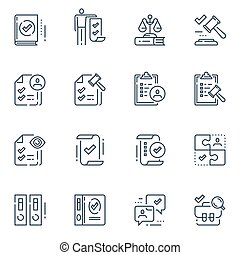 Compliance rules, regulatory concept, law gavel, standards and requirements, legal terms and conditions, vector line icon set