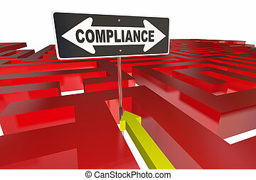Compliance Sign Maze Follow Rules Regulations 3d Illustration