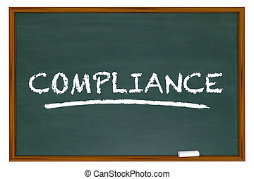 Compliance Training Education Rules Laws Chalkboard 3d Illustration