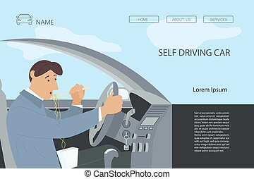 Landing webpage template of self driving car. Hungry man eating noodles with chopstick in vehicle interior. Driver have a lunchtime at the wheel. Flat Art Vector Illustration
