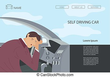Landing webpage template of self driving car. Tired or drunk man sleeping at the wheel of his car. Sleepy People  while driving. Flat Art Vector Illustration