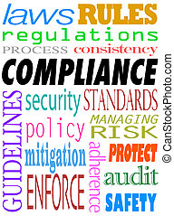 Compliance word background with related terms such as guidelines, enforce, audit, safety, adherence, laws, regulations, process, consistency, rules, security, policy, mitigation and more