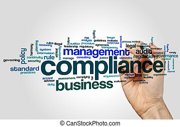 Compliance word cloud concept on grey background
