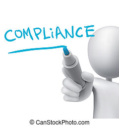 compliance word written by 3d man over white