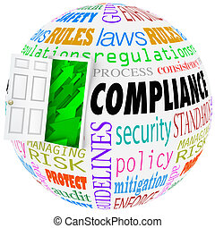 Compliance words globe following rules, regulations, standards and laws in business or life
