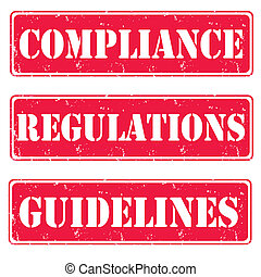Compliance,regulations,guidelines - Set of red stamps...