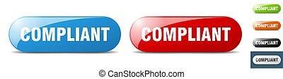 compliant button. sign. key. push button set