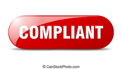 compliant button. rounded glass sign. sticker. banner