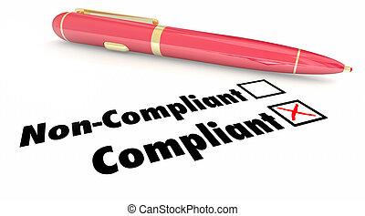 Compliant Check Box Pen Mark Non Compliance 3d Illustration