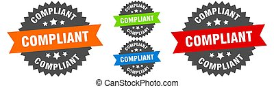 compliant sign. round ribbon label set. Stamp