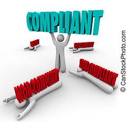 compliant, vs, non-compliance, uma pessoa, segue, regras