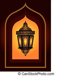 complicado, árabe, lanterna, eid, ou