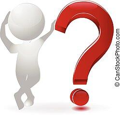 complicado, 3d, pergunta, pessoas