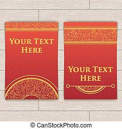 complicado, cartões, jogo, red-gold, textura