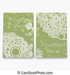 complicado, verde, jogo, ornamento, cartão
