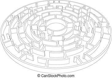 complicado, vetorial, wire-frame, redondo, labyrinth.
