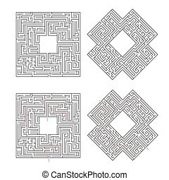 Complicated labyrinths with red path of solution isolated on white