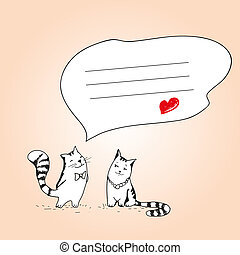 Compliment. Cats valentines