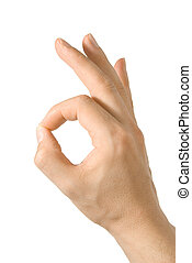 Compliment - Pleased hand gesture, isolated on white