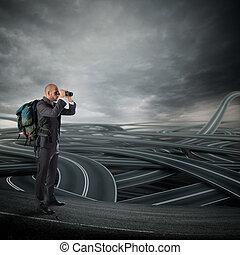 compliqué, décision, de, business, avenir, carrière