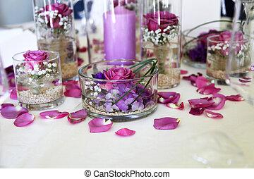 compliqué, milieu de table, arrangement fleur