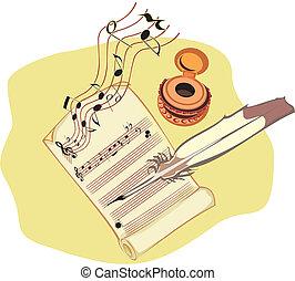 compondo, música