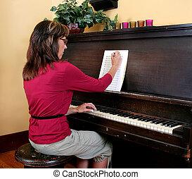 compondo, piano, mulher, música