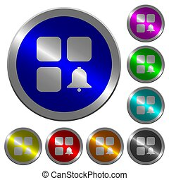Component alert luminous coin-like round color buttons