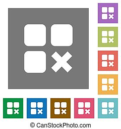 Component cancel square flat icons