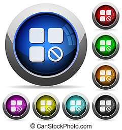 Component disabled icons in round glossy buttons with steel frames